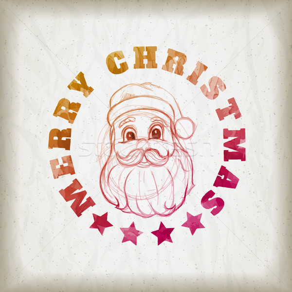 Sketch style Santa Claus portrait and Christmas message Stock photo © sgursozlu