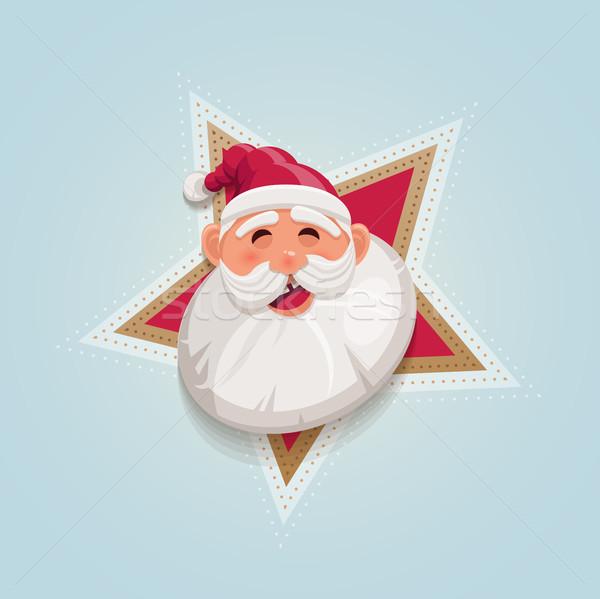 Cartoon kerstman portret gelukkig glimlach Stockfoto © sgursozlu