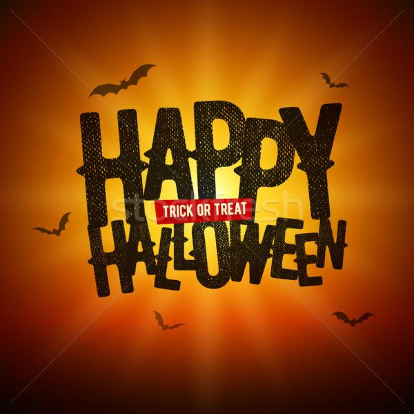 Szczęśliwy halloween kartkę z życzeniami projektu wektora sztuczka Zdjęcia stock © sgursozlu