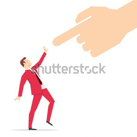 Red suit businessman and pointing finger Stock photo © sgursozlu