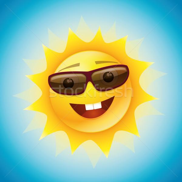 Stockfoto: Grappig · zon · karakter · vector · zomer · ontwerp