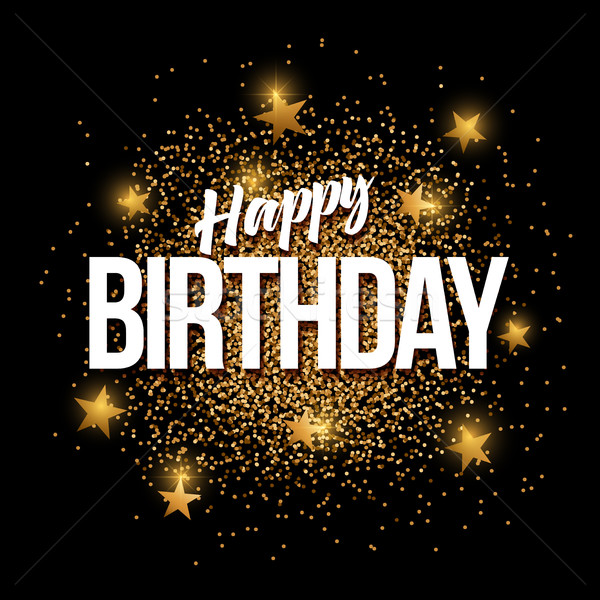 Happy Birthday golden glitter background banner. Stock photo © sgursozlu
