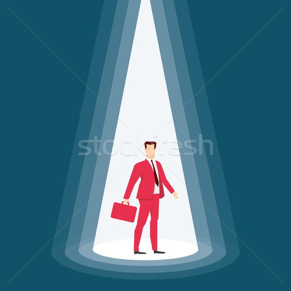 Stok fotoğraf: Kırmızı · takım · elbise · işadamı · iş · adamları · mavi · sahne