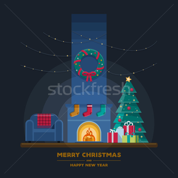 Foto stock: Natal · sala · de · estar · escuro · lareira · poltrona · luzes