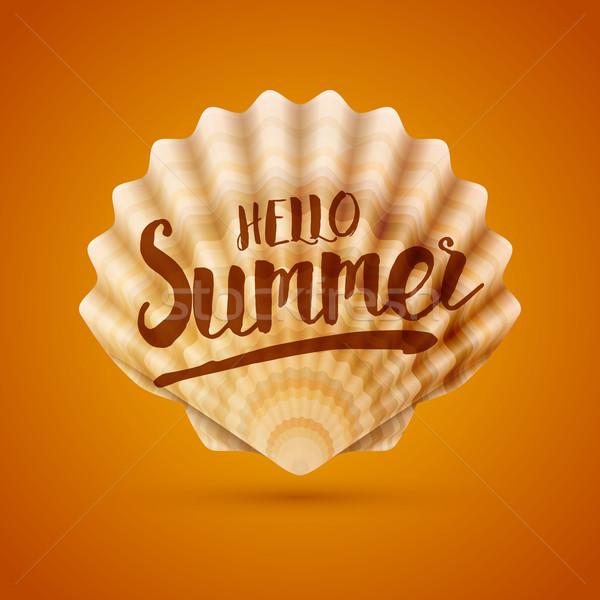 Ciao estate mare shell messaggio dettagliato Foto d'archivio © sgursozlu