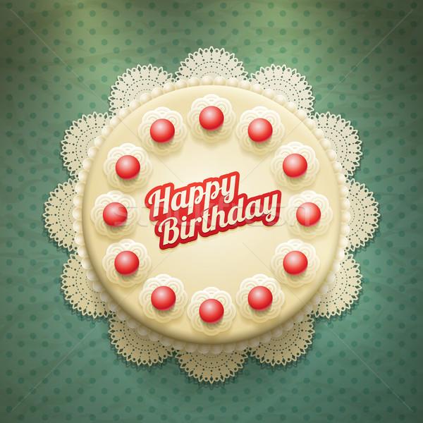 Bolo de aniversário vetor grande bolo creme cerejas Foto stock © sgursozlu