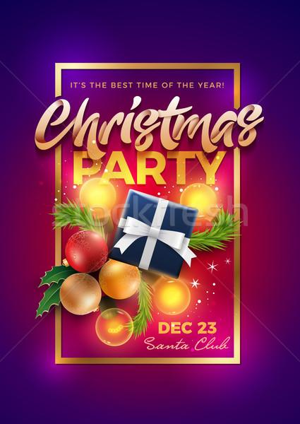 Christmas partij poster ontwerpsjabloon decoratie objecten Stockfoto © sgursozlu
