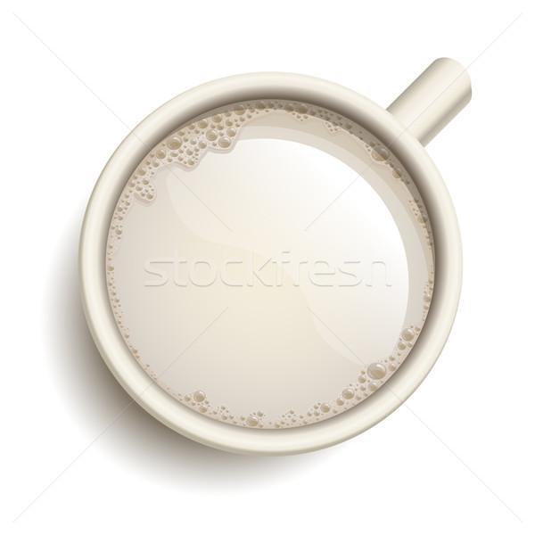 Photo stock: Tasse · lait · vecteur · réaliste · texte · tous