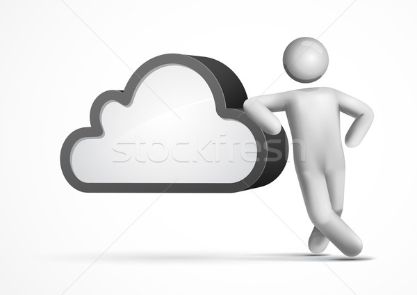 Stock foto: 3D · Vektor · Mann · Wolke · Cloud · Computing
