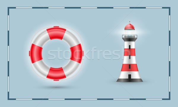 Life buoy and lighthouse Stock photo © sgursozlu