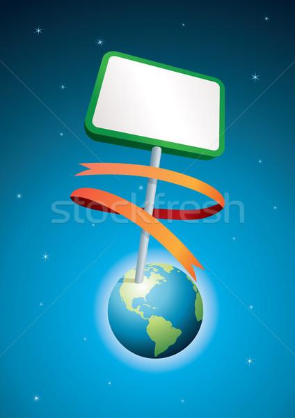 Mundo cartel tierra negocios trabajo mapa Foto stock © sgursozlu