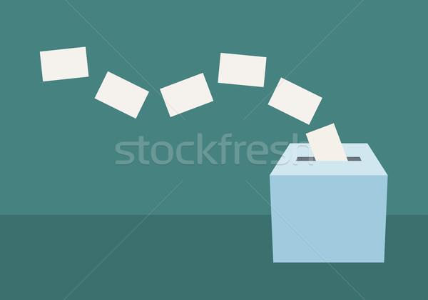 Oylama kutu mavi beyaz seçim ikon Stok fotoğraf © sgursozlu