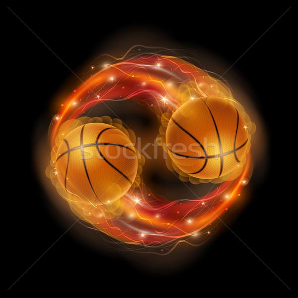 баскетбол комета мяча пламя фары черный Сток-фото © sgursozlu