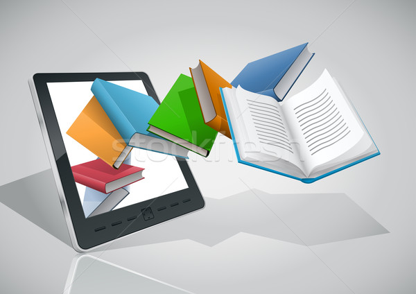 Stock photo: E-book reader and all books.