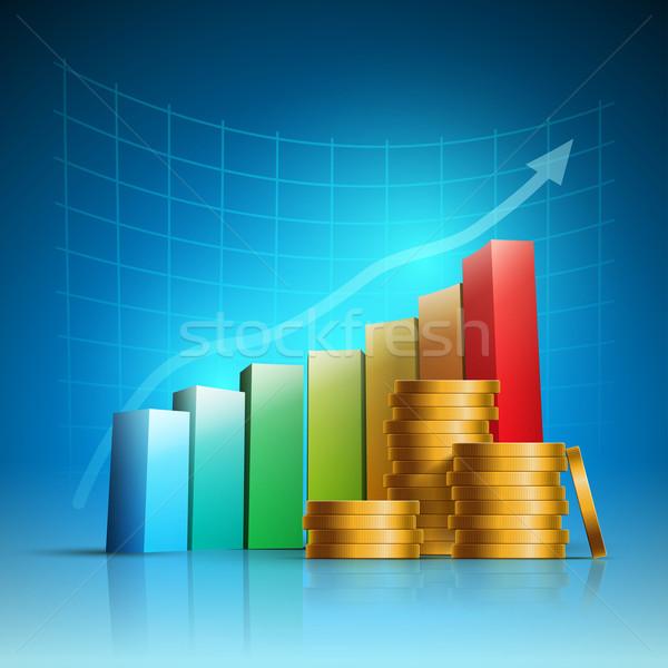 Zdjęcia stock: Złoty · monet · kolorowy · wykres · słupkowy · wektora
