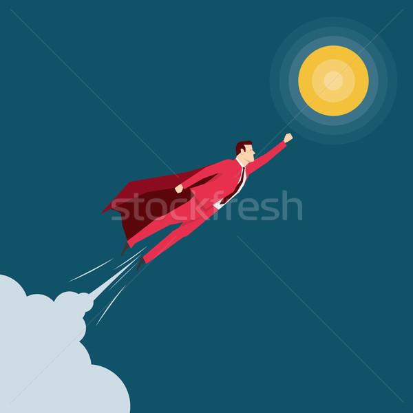 Rosso suit imprenditore cielo uomo Foto d'archivio © sgursozlu