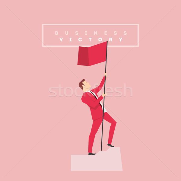 Vermelho terno empresário pose negócio homem Foto stock © sgursozlu