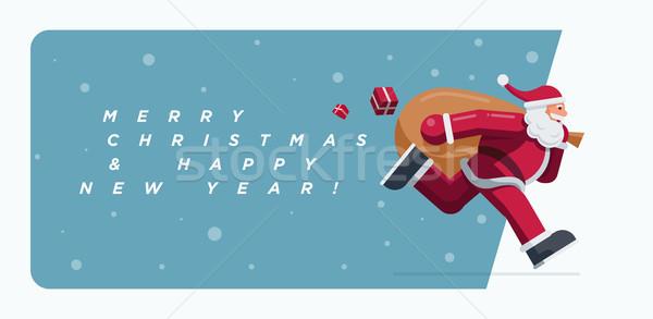Święty mikołaj uruchomiony christmas projektu szczęśliwy śniegu Zdjęcia stock © sgursozlu