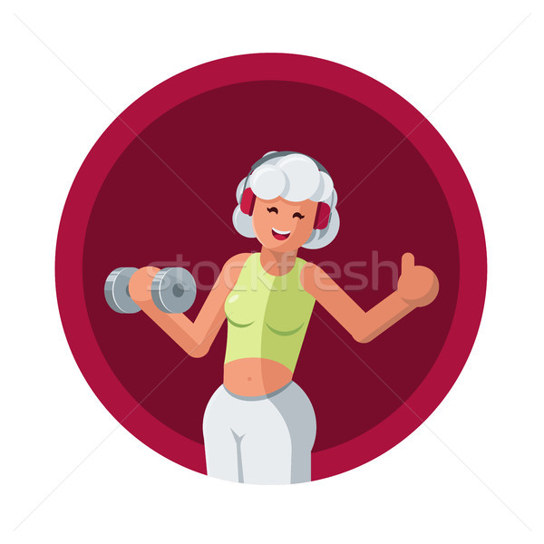 Fitness ilustração belo cabelos brancos senior mulher Foto stock © sgursozlu