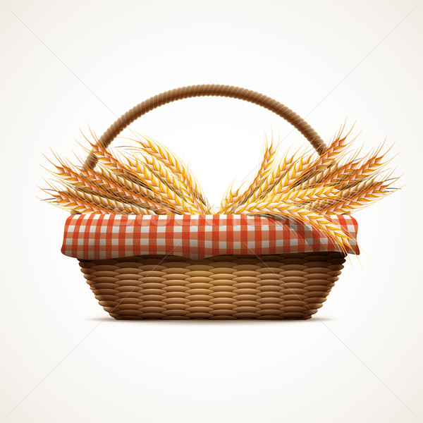 Wheat in wicker basket Stock photo © sgursozlu