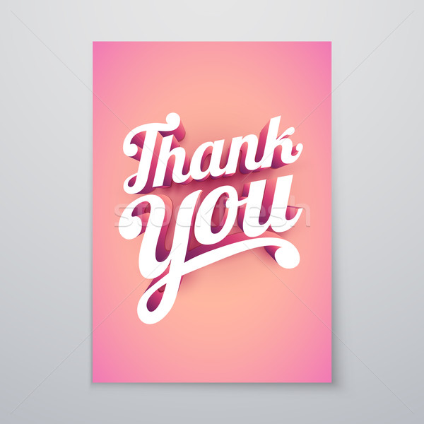 Thank You 3d hand lettering typography poster Stock photo © sgursozlu
