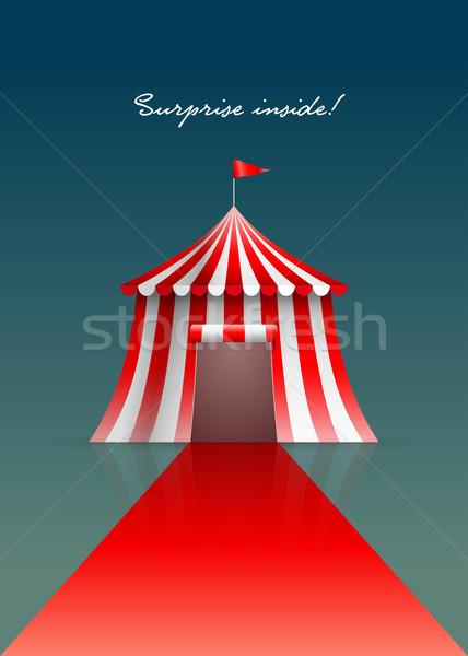 Circo tienda alfombra roja diseno bandera rojo Foto stock © sgursozlu