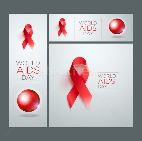 World AIDS Day Ribbon Banner Set Stock photo © sgursozlu