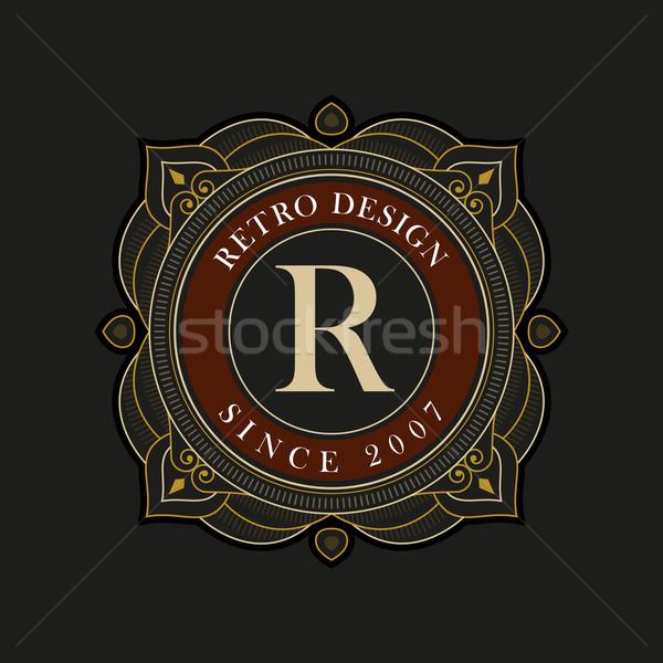 Vector luxe monogram ontwerpsjabloon elegante frame Stockfoto © sgursozlu