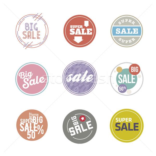 Vector círculo venta etiqueta establecer colores Foto stock © sgursozlu