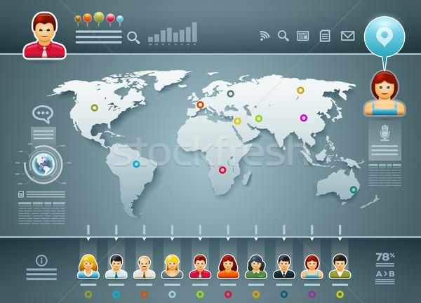 Foto stock: Mundo · pessoas · infográficos · vetor · mapa · do · mundo · elementos