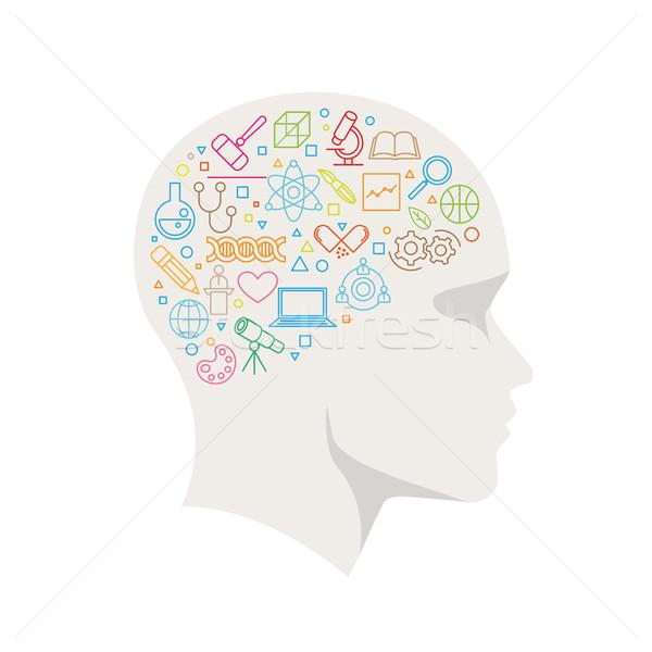 Science Concept Line Icon In The Head Stock photo © sgursozlu