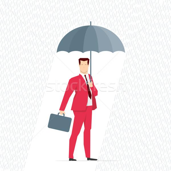 Stok fotoğraf: Kırmızı · takım · elbise · işadamı · şemsiye · yağmur · iş