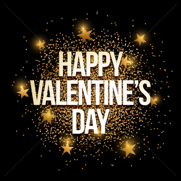 Valentine's Day golden glitter background banner. Stock photo © sgursozlu