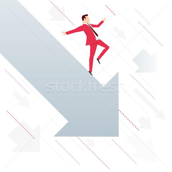Stok fotoğraf: Kırmızı · takım · elbise · işadamı · düşen · ok · aşağı