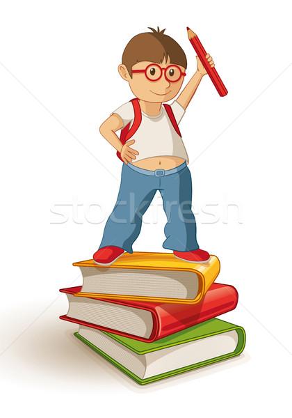 Iskolás fiú áll könyv boglya tart piros Stock fotó © sgursozlu