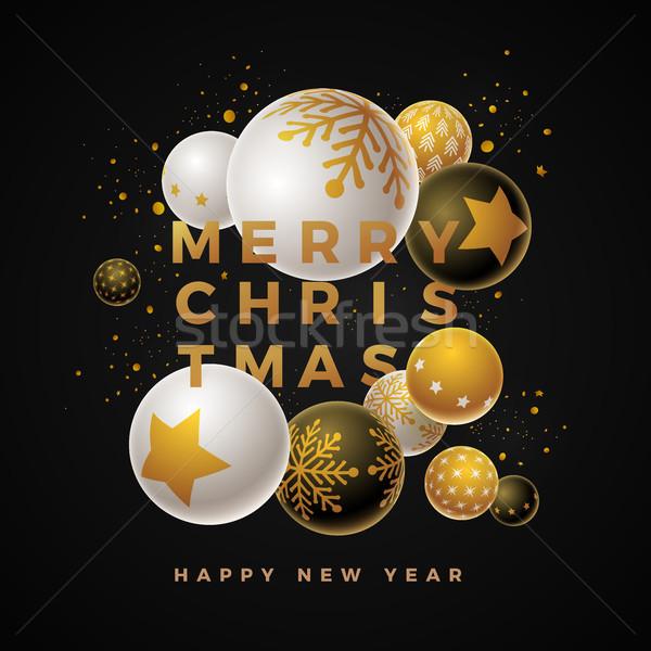 Vrolijk christmas ontwerpsjabloon abstract nieuwjaar wenskaart Stockfoto © sgursozlu