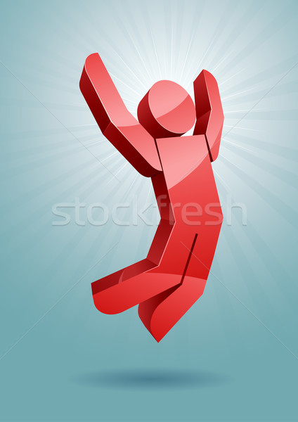 Ugrik férfi 3D vektor illusztráció boldog Stock fotó © sgursozlu
