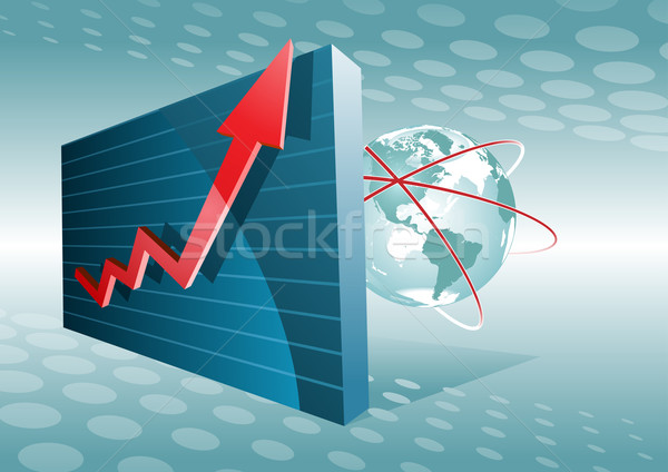 Stock photo: Moving up chart