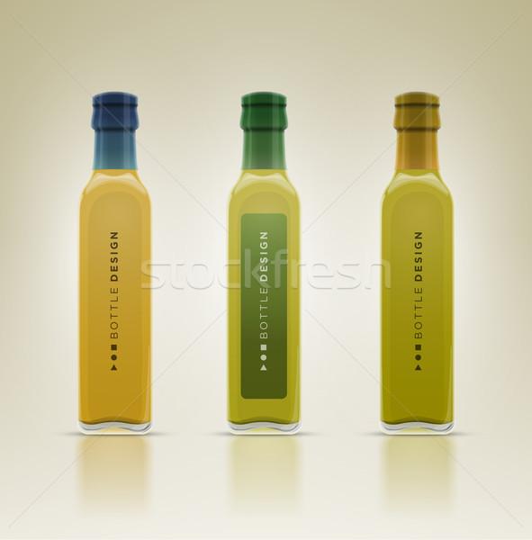Glass oil olive bottle set.  Stock photo © sgursozlu