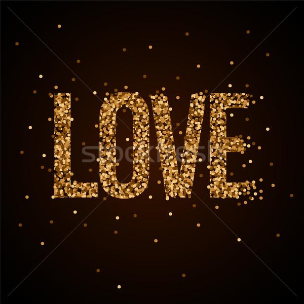 Miłości banner złota blask elementy Zdjęcia stock © sgursozlu