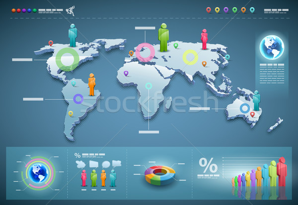 Vector world infographics set. Stock photo © sgursozlu