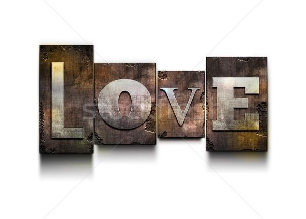 Stock fotó: Szeretet · magasnyomás · szó · véletlenszerű · grunge