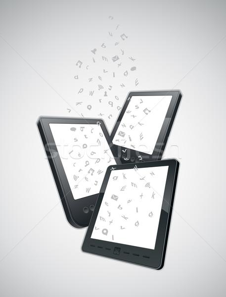 Mobiliteit communicatie boek ontwerp telefoon notebook Stockfoto © sgursozlu