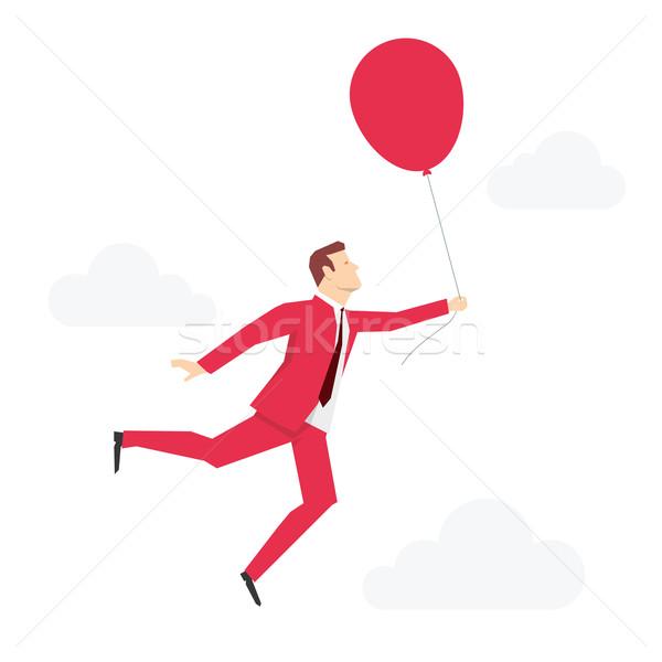 Stok fotoğraf: Kırmızı · takım · elbise · işadamı · uçan · balon · iş