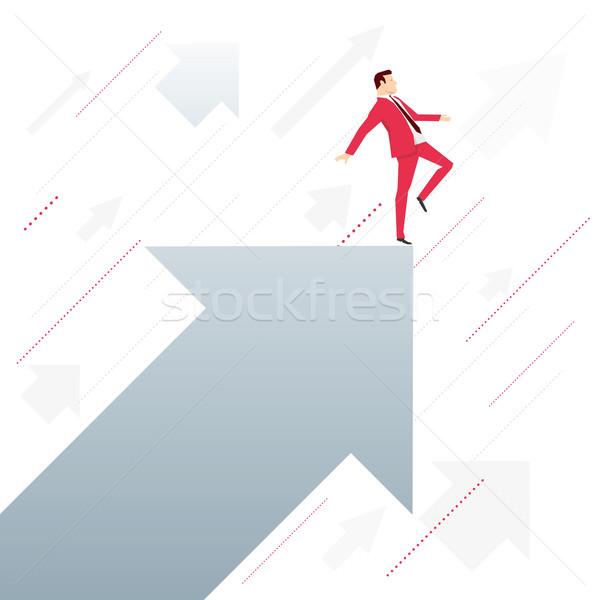 Piros öltöny üzletember nyíl áll ahogy Stock fotó © sgursozlu