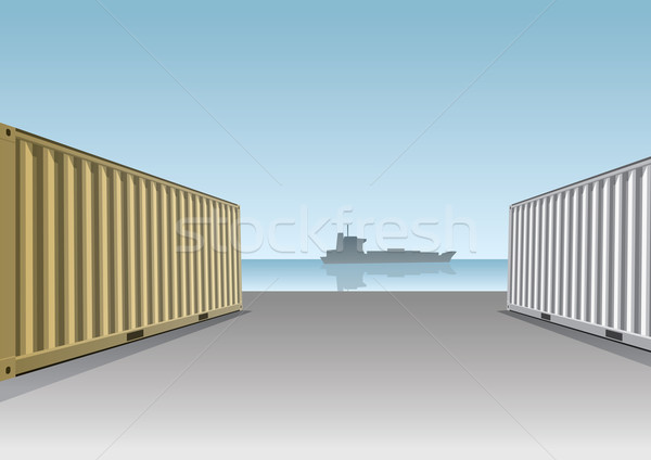 Cargo Containers at a dock Stock photo © sgursozlu