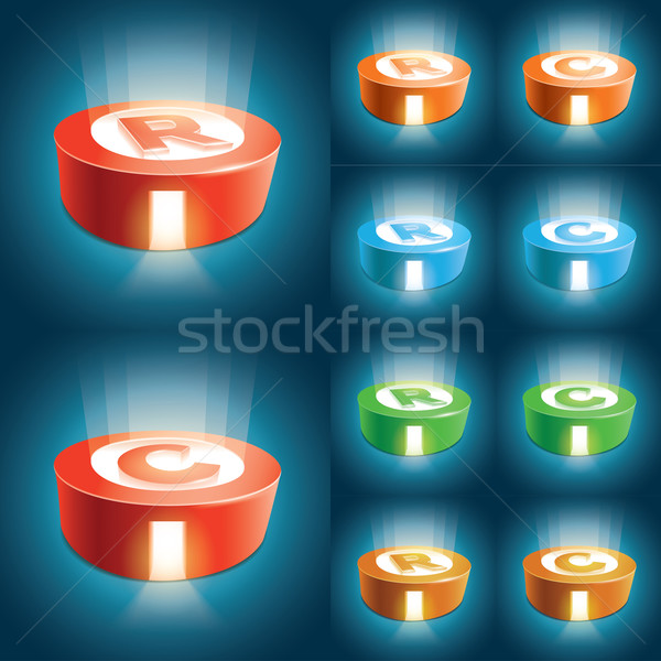 Szerzői jog szimbólum szett vektor elemek réteges Stock fotó © sgursozlu