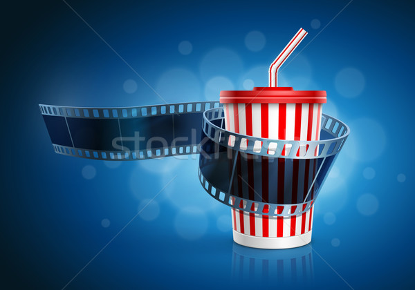 Camera film roll and cardboard cup with a straw. Stock photo © sgursozlu