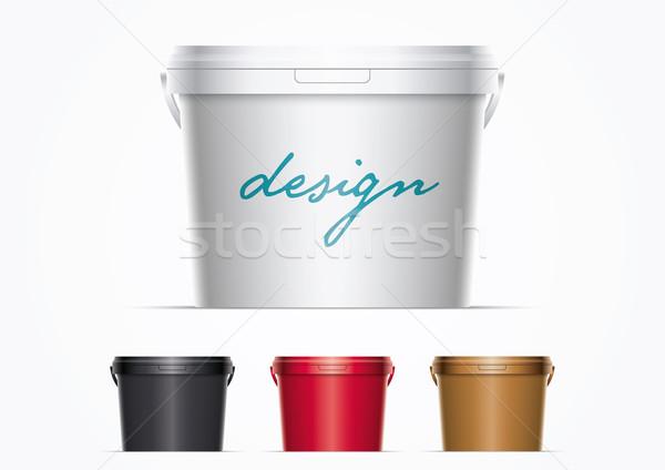 Foto stock: Plástico · balde · de · tinta · conjunto · vetor · balde · ilustração