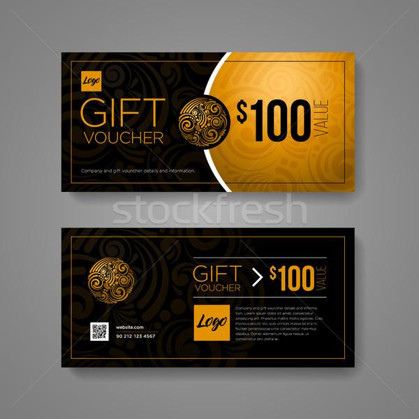 подарок ваучер дизайн шаблона роскошь золото черный Сток-фото © sgursozlu